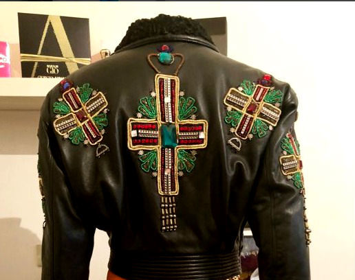 Gianni Versace - Vintage leather jacket with Byzantine crosses, 1990s - Rare collectible