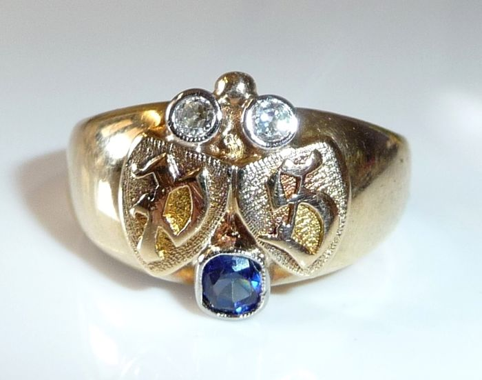 "14 kt / 585 gold signet ring with initials ""PS"" / ""SP"" with 0.16 ct. diamonds + 0.25 ct, sapphire"