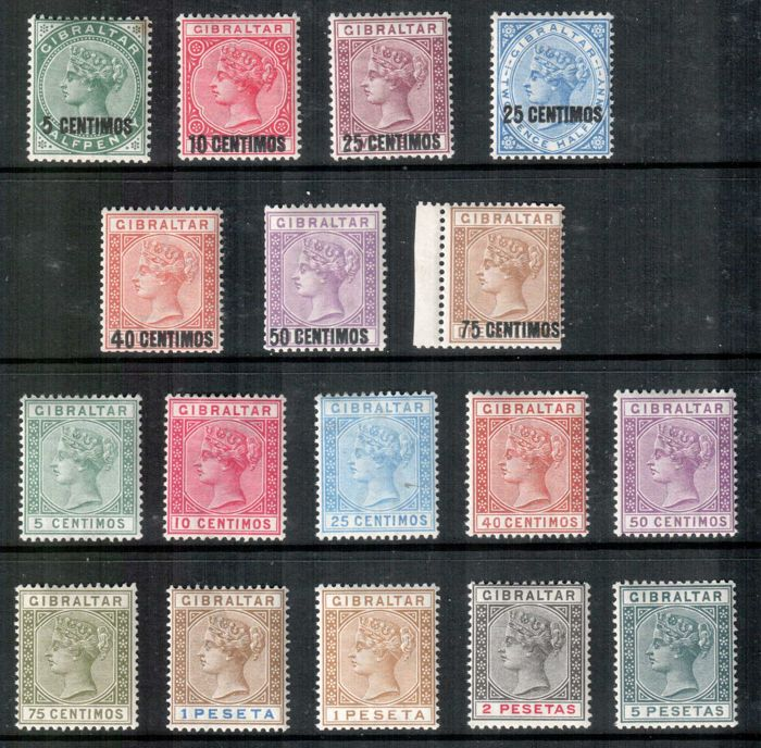 Gibraltar 1889/1896 - Selection on stock cards.