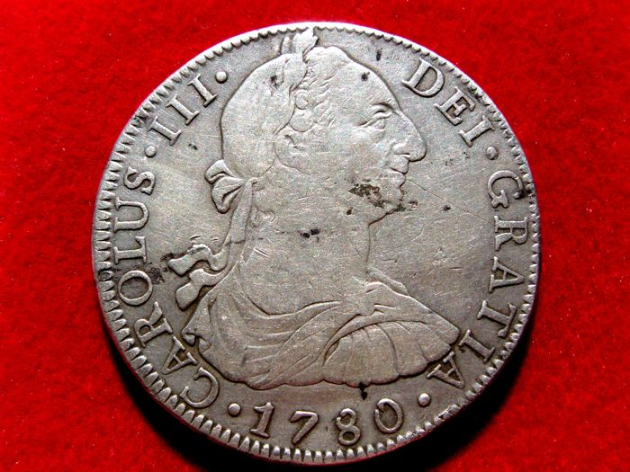 Spain - Carlos III, 8 silver Reales struck in the mint of Mexico, 1780. Assayer F.F
