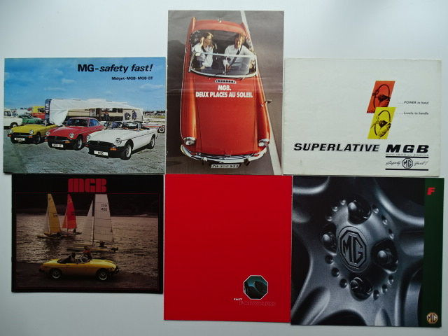 1963 - 1998 - M.G. MGB, MGB GT, MGF, Midget - mixed lot of 6 original sales brochures