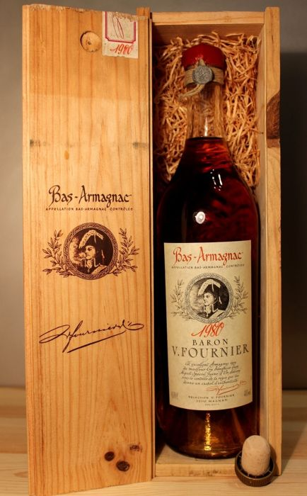 1980 Baron V. Fournier Vintage Bas Armagnac - 0,7l, 40%vol, incl original Wooden Box