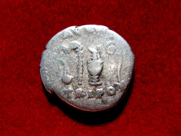 Roman Empire - Vespasian (69 - 79 A.D.) silver denarius (3,25 g. 18 mm.) from Rome mint, 72-73 A.D. AVGVR. TRI. POT. Sacrificial implements.