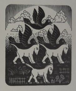 Maurits Cornelis Escher (1898-1972 - 1972) - woodcut - 1953 Paarden en Vogels (Horses and Birds)