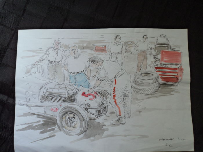 "1 original watercolor/drawing ""Offenhauser"" formula race car by Francois Chevalier"