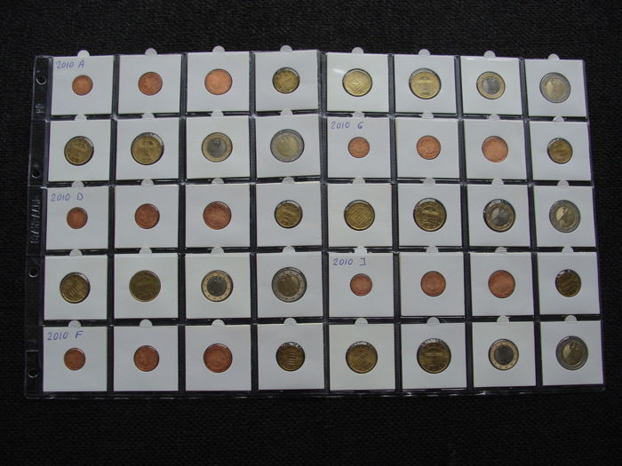 Germany - Year series 2010 A, D, F, G, J complete in coin sheets