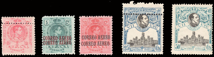 Spain 1920 - UPU and Alfonso XIII Medallion. Lot of 5 stamps with several varieties