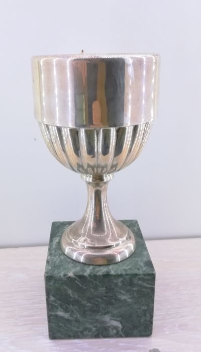Trophy cup in 915 silver on a marble base - height: 21 cm