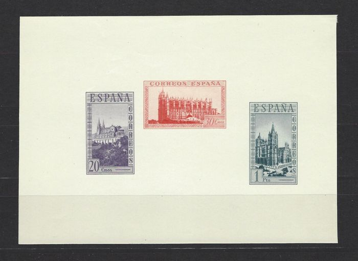Spain 1938 - Historical Monuments Miniature Sheet Variety - Edifil 848