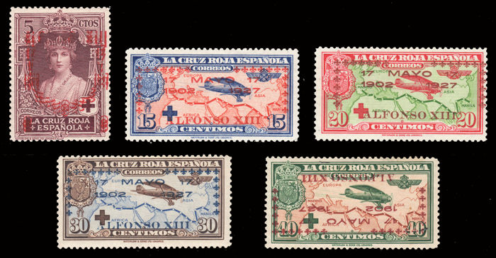 Spain 1927 - Red cross Lot 5 stamps with different varieties