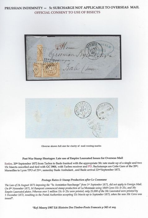 France 1872 - Post War Stamps Shortages: Late use of Empire Laurateated Issues Overseas Mail - Prussian Indemnity Official use of Bisects