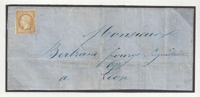 Frankrijk 1853 - Emission Louis Napoleon III Empire - 10c. rate for local use to Lyon witn OR cancellation in the corners
