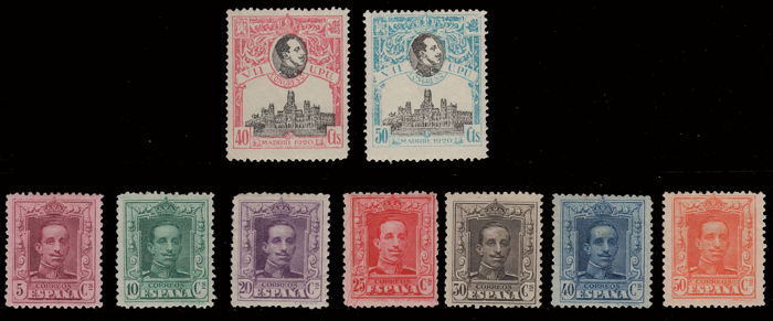 Spain 1920 - Alfonso medallion an U. P.U. Lot of 9 stamps - Edifil 305/306, 312, 314, 316/320