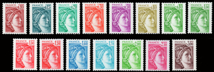 France 1977 - Lot of 15 Sabine stamps, shiny gum non-phosphor variety - Complete series in this condition - Signed Calves - Yvert 1962/79