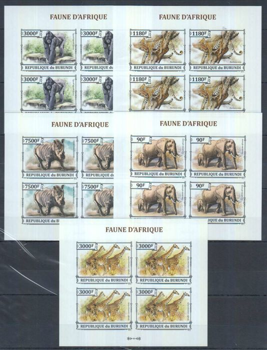 Burundi 2011, 2013 - Collection of imperforated minisheets: fauna, nature, transport, famous people