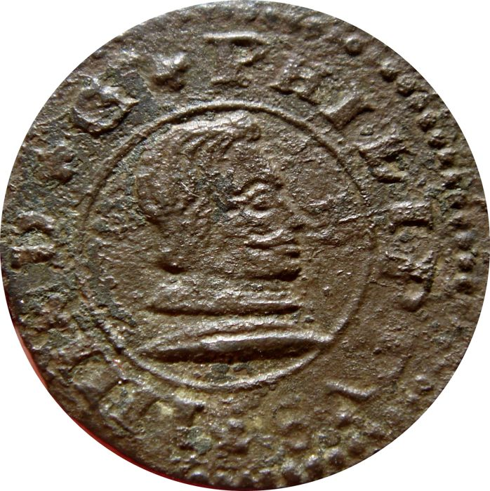 Spain - House of Austria - Felipe IV (1621–1665). 16 maravedís copper coin. Seville, 1662.