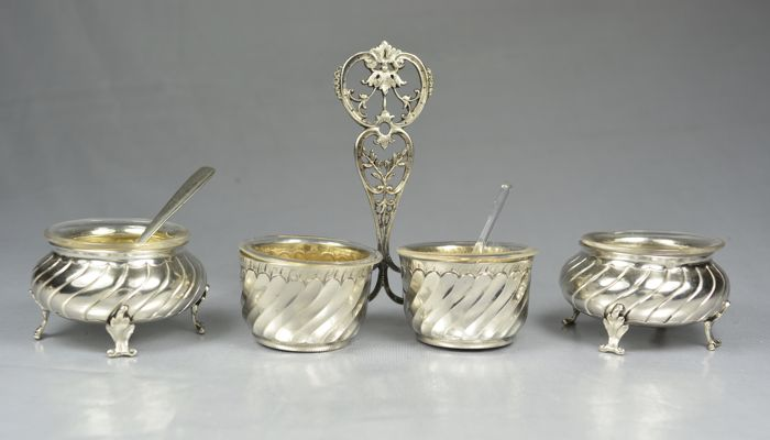 Double salt cellar stand, plus a pair of silver and glass salt cellars, Auguste Defis, France, late 19th century