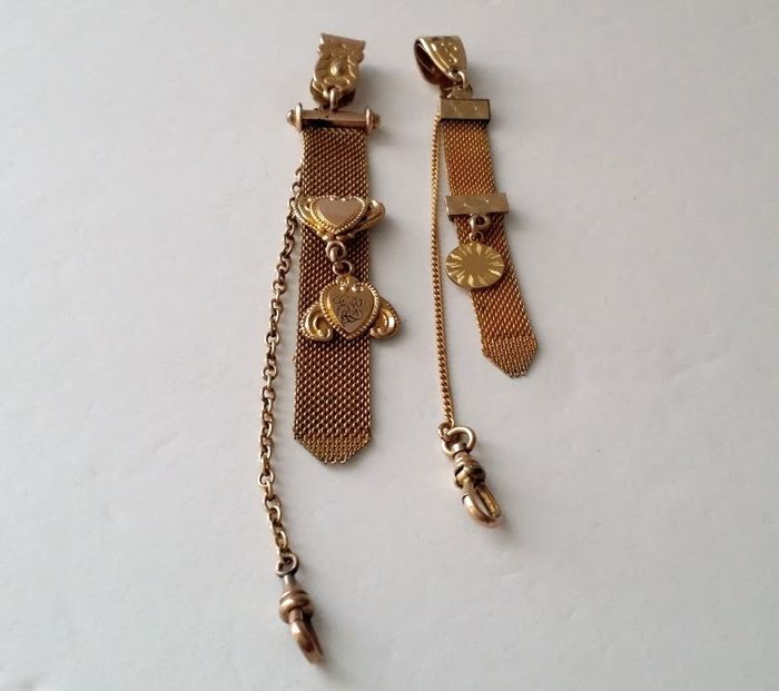 Victorian Gold Filled Vest Pocket Clips Watch Fob Chains