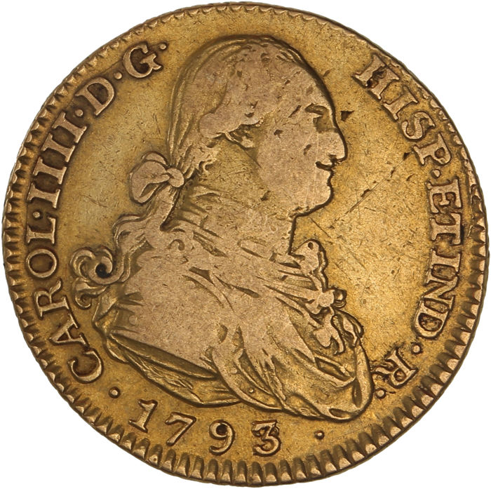 Spain – 2 Escudos 1793 MF – Carlos IV – gold