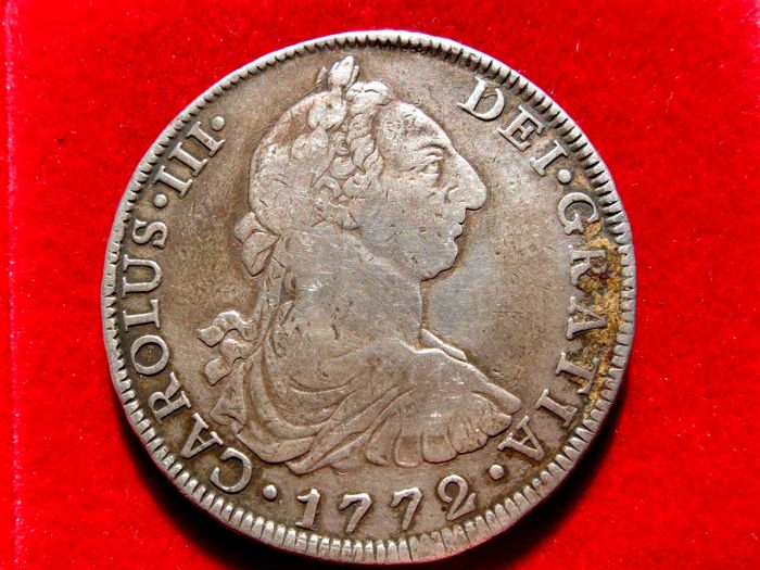 Spain - Carlos III, 8 silver Reales struck in the mint of Mexico, 1772 Assayer F.M. Assayer and mint inverted RARE