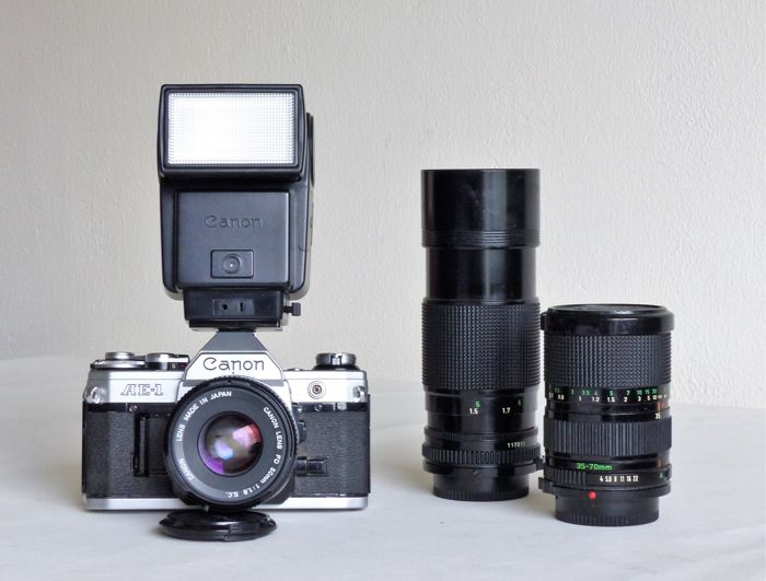 Canon AE-1 with three Canon lenses and flash