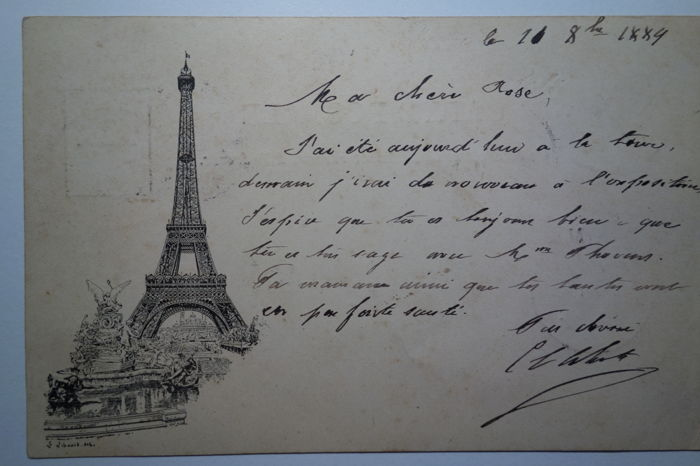 First illustrated postcard published in France to commemorate the opening of the Eiffel Tower in 1889. Illustrator Libonis