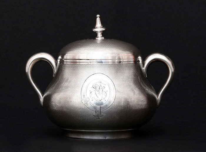 Sterling Silver Sugar Bowl,   -Emile Hugo 1853-1880,   -France