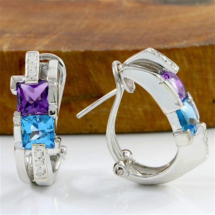 14k White Gold Earrings Set with 1.90 ct Amethyst, 1.85 ct Blue Topaz and 0.30 ct H-I, SI1-SI2 Diamond