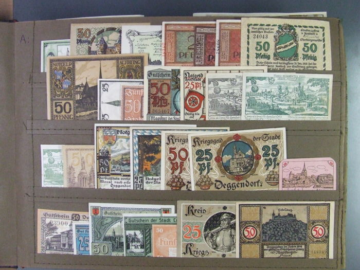 Germany - 308 assorted emergency currency note collection - part I