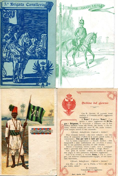 Lot of Italian regimental postcards - districts and commemorative