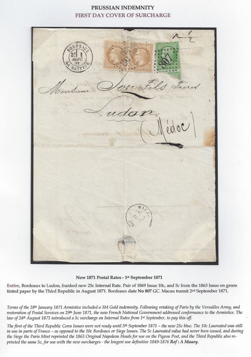 France 1871 - New Postal rates - Prussian Indemnity First Day Cover of surcharge - Letter to Macau