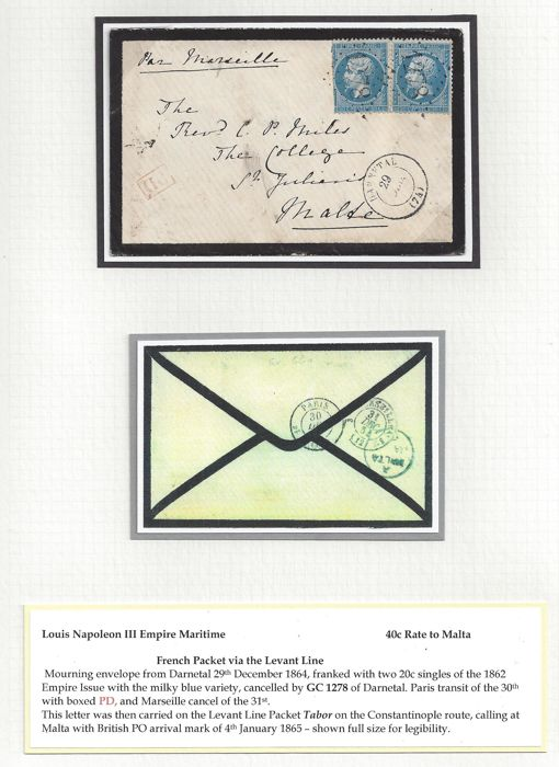 France 1864 - Louis Napoleon III Empire Maritime - 40c. rate to Malta -  Morning-letter