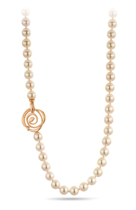 High Quality Akoya Pearl Necklace 8.5x9mm Completed with an 18K Rose Gold Flower Clasp - Authenticity Certificate