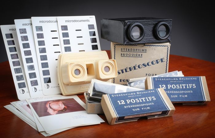 """2 stereoscopes:  1 """"Bruguière"""" viewer with 24 views of Paris + 1 Microdocuments Eutherpie viewer  in box/perfect condition 1950"""