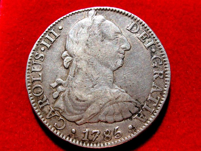 Spain - Carlos III, 8 silver Reales struck in the mint of Mexico, 1785 Assayer F.M