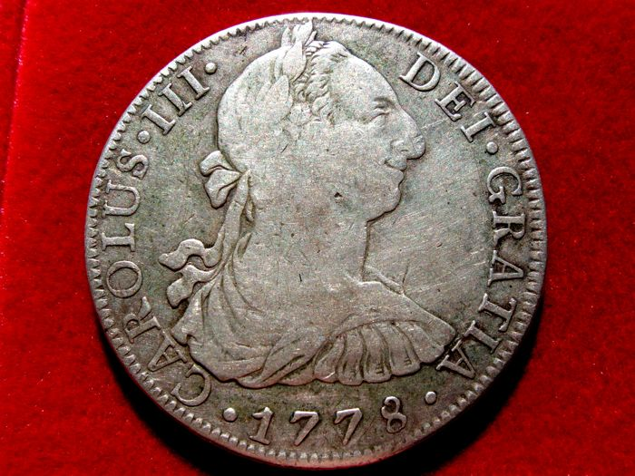 Spain - Carlos III, 8 silver Reales struck in the mint of Mexico, 1778. Assayer F.F Scarce