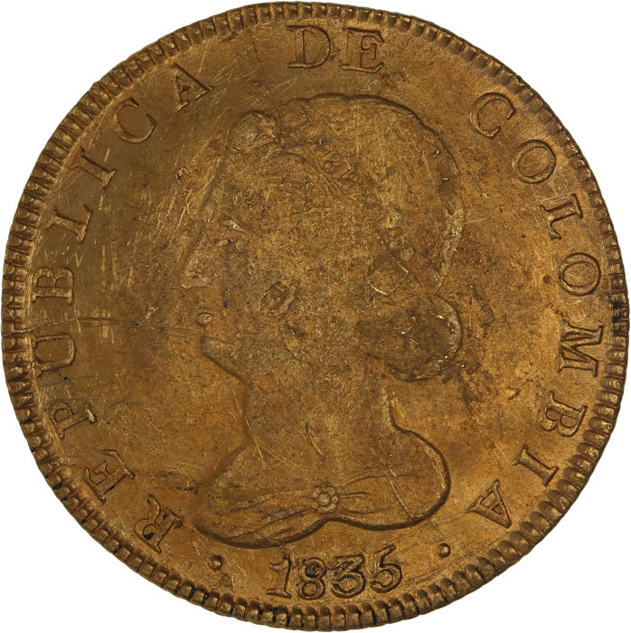 Colombia - 8 Escudos 1835 RS - gold