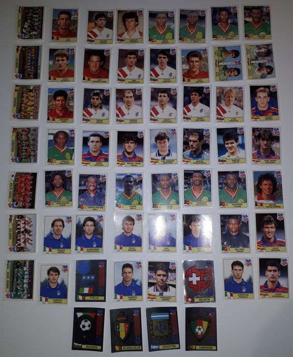 Panini - FIFA World Cup USA 94 - 60 different original stickers including 6 silver emblems - Red backs