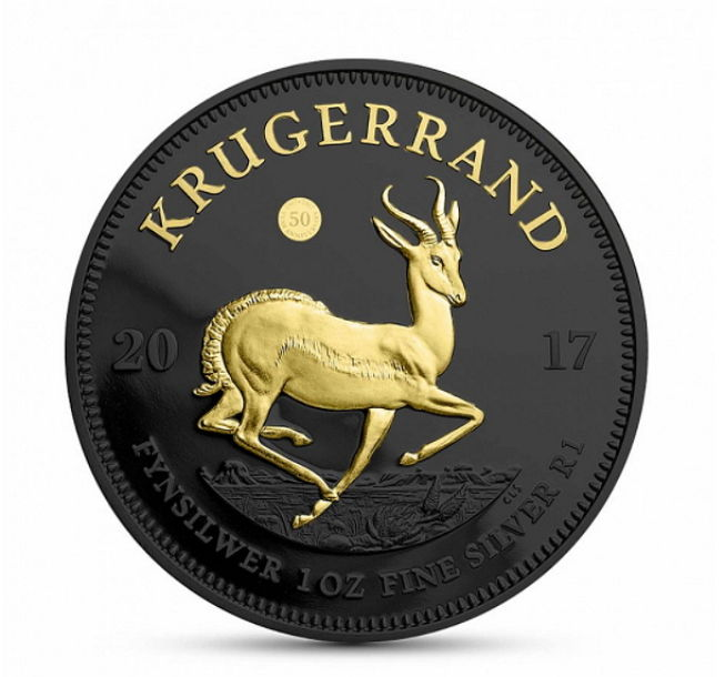 South Africa - Krugerrand, 2017, ' 50 Years Krugerrand', Black Ruthenium + Gilded Edition - 1 oz Silver