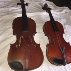 4/4 Violin Made in Mirecourt. 19th Century and 3/4 Stradivarius Violin Made in Mirecourt by Jérôme Thibouville Lamy. Early 21st Century