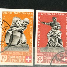 Switzerland 1940 - Pro Patria Monuments Stamps acquired from sheetlet BF5 - Unificato no. 349A-353A