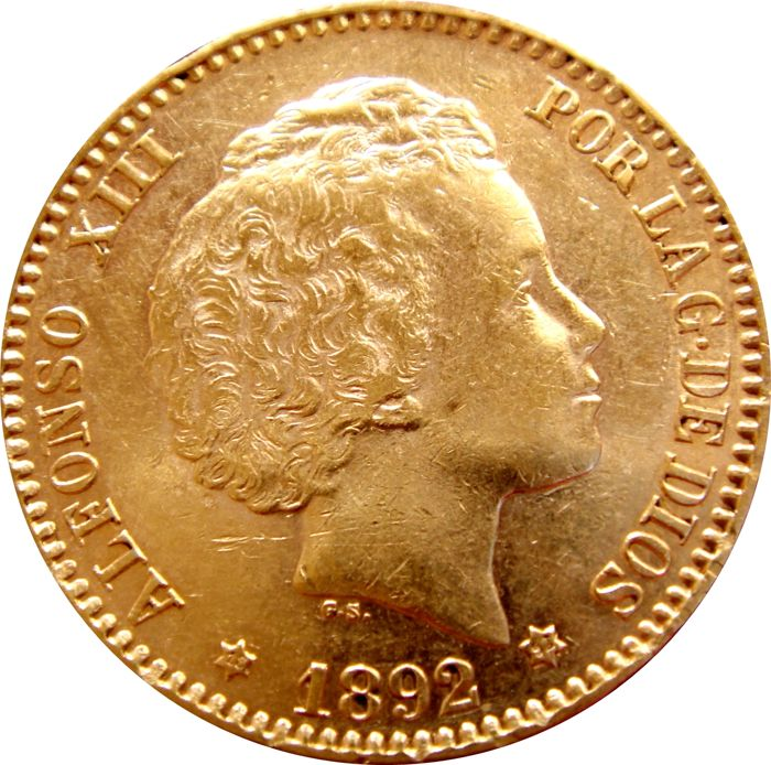 Spain - Alfonso XIII - 20 Pesetas gold (6.45 g, 21 mm) - 1892 /* 92 PG-M Bust with curls Rare specially in this high-grade of preservation