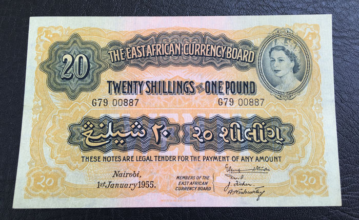 East Africa - 20 Shillings / 1 Pound - 01.01.1955 - Pick 35