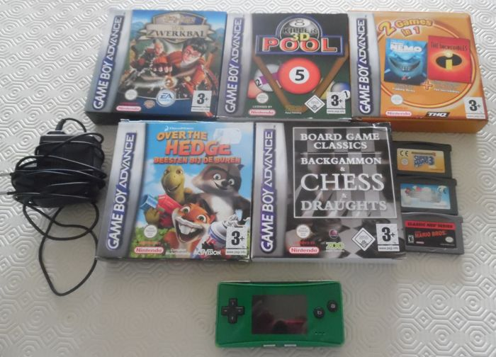 Gameboy Gameboy Micro Green + charger + 8 games like Mario Bros + Super Mario 3 and more