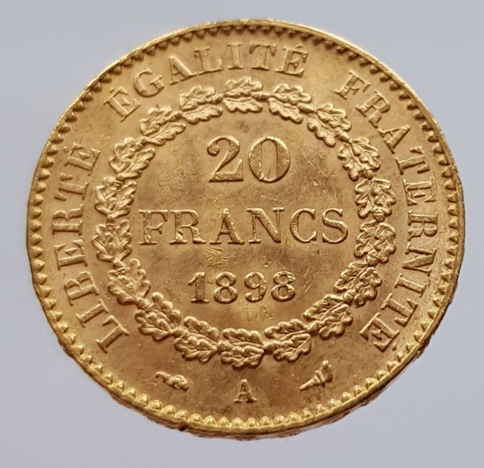 France - 20 Francs 1898A 'genius' - gold