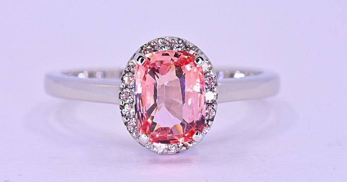 1.51 Ct Padparadscha Sapphire with Diamonds ring ***NO RESERVE price!***