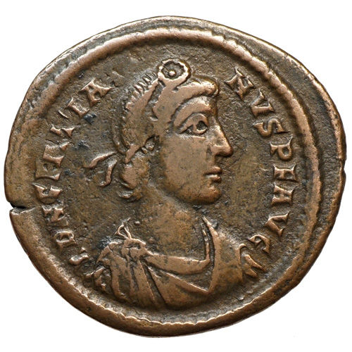 Roman Empire - GRATIANUS (378-383) AE, Rome, Emperor in front of City Goddess