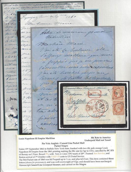 Frankrijk 1861 - Louis Napoleon III Empire Maritime, Morning-Letter with - 80c rate to America (Buffalo)
