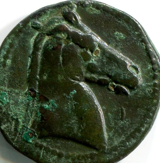 Greek Antiquity - Carthage, Sicily and Sardinia Mint - Struck 300-264 BC – Punic Bronze Tanit / Horse's head and punic letter PE
