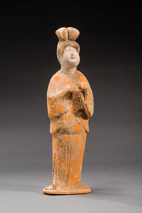 A Large Tang Dynasty Painted Red Pottery Figure of Court Lady - Fat Lady , TL test- H 37,5 cm